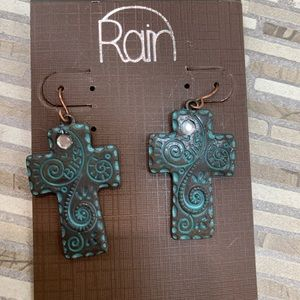 Rain Cross earrings Patina finish